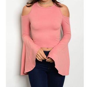 Tops - Drk Pink Fitted Bell Sleeve Cold Shoulder Crop Top